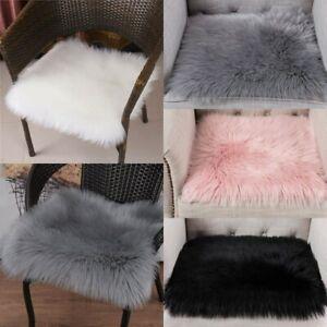 40x40cm Weiß Rosa Quadrat Kunstpelz Schaffell Kissen Stuhlauflage Sitzunterlage