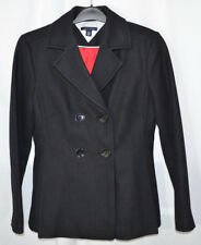Tommy Hilfiger Double Breasted Peacoat Black Pleated Wool Blend Women's M