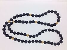 Black Onyx Beads with Solid 14kt Yellow Gold Beads Necklace