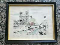 "c.1950's Notre Dame Paris France Janicotte Hand Colored Lithograph Framed 16x20"""