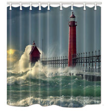 Waterproof Fabric Bathroom Shower Curtain & Hooks Lighthouse and Ocean Waves 71""