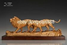 60 cm Chinese Boxwood Masterwork Africa Lion Simba couple Animal wood sculpture