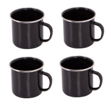 8 x Enamel Mug Set BLACK Tin Camping Picnic Tea Soup Drinking Cups Eight Mugs UG