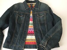 Ladies GAP Blue Jean Jacket M MEDIUM Multicolor SWEATER lining (HU)