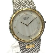 AUTHENTIC SEIKO CREDOR Men's Wristwatch SS and K18KT 5A74-0240