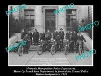 OLD LARGE HISTORIC PHOTO OF MEMPHIS TENNESSEE POLICE MOTORCYCLE UNIT c1920