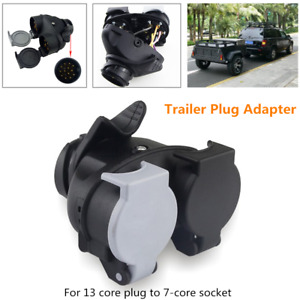 12V Trailer Plug Adapter 13-Core Plug to 7-Core Socket Connector Boat RV Wiring