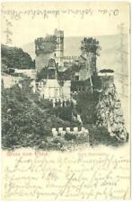 Rhein, Germany Greetings and pic of Castle Rheinstein   used  postcard  1901