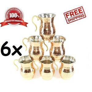 6 pcs X Turkish Handmade Copper Mug Masrapa Tankard Moscow Mule Wine Coffee Cup