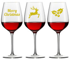12  X GOLD CHRISTMAS WINE GLASS DECAL LOGO WINDOW XMAS other colours available