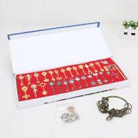 30pcs Fairy Tail Lucy Cosplay Keys Pendant Necklace Keychain box Collection Gift