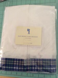 """POTTERY BARN KIDS Twin Tailored White Blue Plaid Bedskirt 14""""pleated! NEW!"""