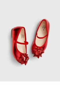 BABY GAP GIRL RED BOW BALLET FLATS SHOES 8 9 n10