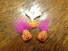 Vintage Russ Pink Troll Halloween Pumpkin Jack O Lantern Earrings & Ghost Brooch