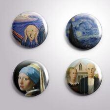 4  FAMOUS PAINTINGS ART  - Pinbacks Badge Button 25mm 1''
