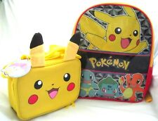 "Pokemon Pikachu Multi Character 16"" Backpack+Pickachu Ears Lunchbox-Brand New!"