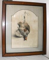 Original antique 1850s Edouard Travies hunting bird trophy lithograph print art