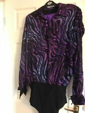 Mens Artistic Roller and Ice Skating Costume Leotard Outfit in Purple