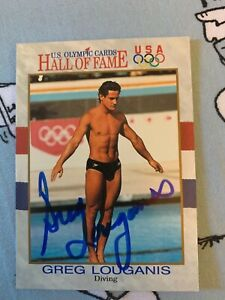 GREG LOUGANIS AUTOGRAPHED SWIMMING HOF CARD
