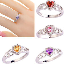 Women Heart Cut Topaz Gemstone Finger Ring Jewelry Size 6 7 8 9 10 11 12 13