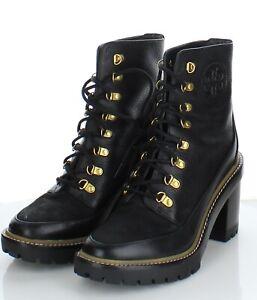 12-73 $458 Women Sz 7.5 M Tory Burch Miller Leather Lug Sole Bootie In Black