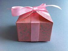 10 boites contenant dragées mariage bapteme rose argenté neuf + Ruban