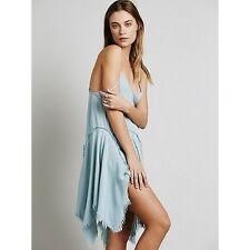 Free People Intimately Tattered Up Shred Pool Blue Boho Slip Dress M Rare