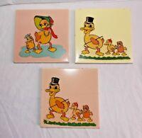 Lot 3 Vintage Gladding and McBean Nursery Tiles Ducks Ducklings Pink Yellow Tile