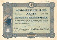 Norddeutscher Lloyd Aktie Uber Hundert Reichsmark