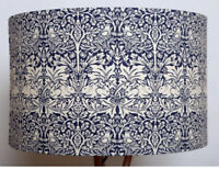 Handmade 40cm Lampshade Covered in William Morris Blue Brother Rabbit Fabric