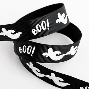 Black Halloween Ghost Boo! Grosgrain Ribbon - 16mm x 5m Roll - Choose Design