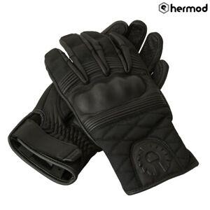 Belstaff Hampstead Leather Wax Cotton Motorcycle Motorbike Gloves - Black