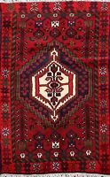 Geometric Hamedan Traditional Area Rug Wool Hand-knotted Home Decor Carpet 3'x5'