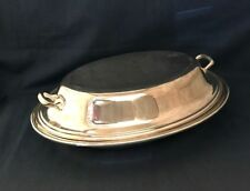 Vintage Gorham Silver Plate Covered Divided Oval Bowl Colonial Pattern