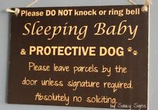 Sleeping Baby Protective Dog Wooden Warning Absolutely No Soliciting Door Sign