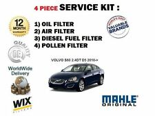 FOR VOLVO S60 2.4DT D5 2010-> SERVICE KIT OIL AIR FUEL POLLEN FILTER (4) SET