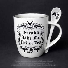 Alchemy Becher Set mit Löffel Freaks wie ich trinke Tee Bone China Gothic Geschenk