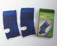 A pair of elastic ankle support, ankle guard, ankle brace. Blue colour