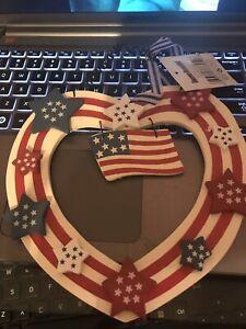 Handmade Primitive Patriotic Hanging Heart