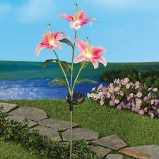 Solar Powered Lighted Pink Lilies Flower Garden Stake