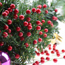 100/50PCS Xmas Red Berry Holly Leaves Branch Artificial Flower Pick Home Decor