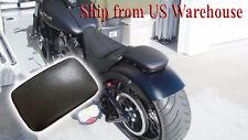 Black Pillion Rectangular Pad Seat 6 Suction Cup for Harley Custom Chopper