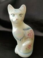 Fenton White Iridescent Stylized Cat Figurine w/ Hand Painted Flowers Signed