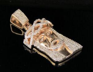 "Real 10K Rose Gold Genuine Diamond Jesus Face Pendant Charm 1/2 CT 1.5"""