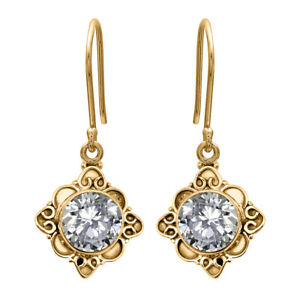 0.75 CTW Round Natural Zircon Vintage Engraved Earring Jewelry 9K Yellow Gold