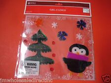 New ! Merry Christmas Glass Window Gel Clings or Mirrors Decoration Penguin