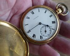 QUALITY VINTAGE WALTHAM GOLD PLATED FULL HUNTER POCKET WATCH // WORKING