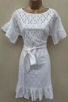 Karen Millen 10 UK Embroidered Anglais Ruffled White Dress Holiday Summer Party