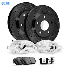 "Brake Rotors FRONT+REAR KIT ELINE /""DRILLED AND SLOTTED/"" /& CERAMIC PADS RA51468"