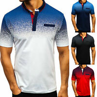 Men Slim Fit Polo Neck Short Sleeve Casual Collar Golf T-Shirt Business Tops Tee